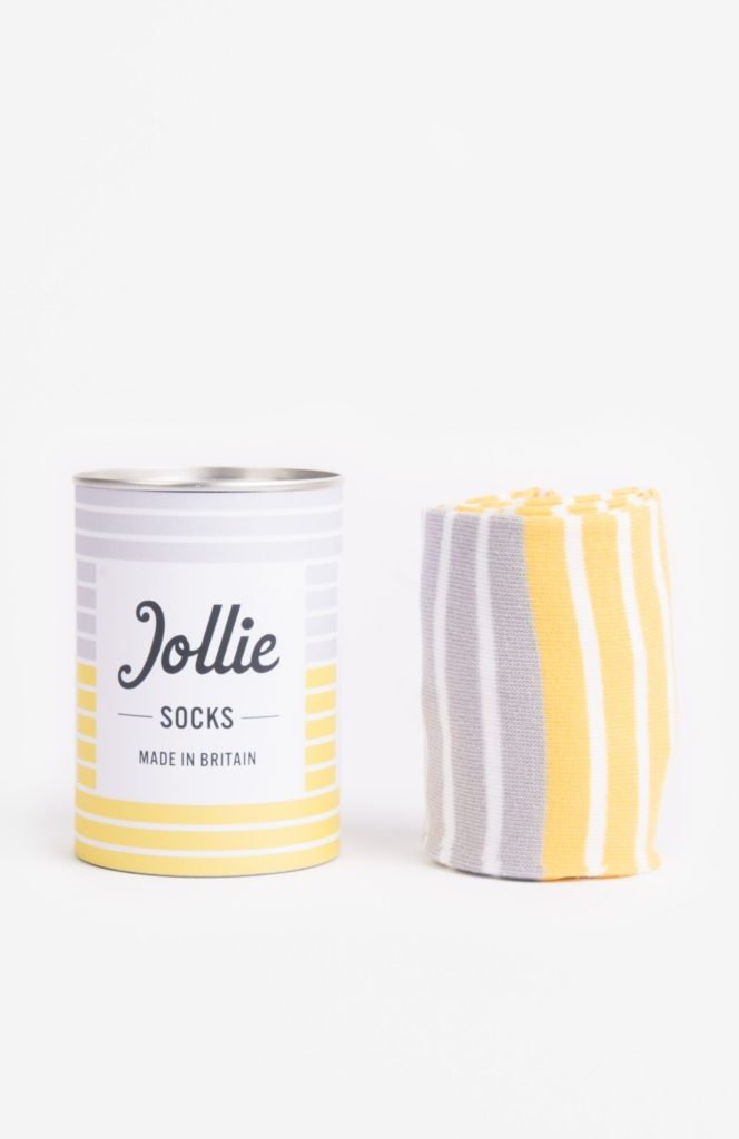 yellow and grey Jollie socks from Know the Origin