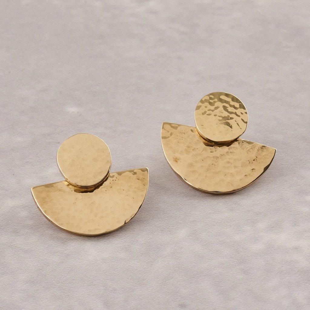 brass half-moon earrings by Yala Jewellery, as seen on Janet's List.