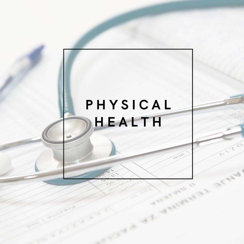 image of a stethoscope and medical notes with the words 'Physical Health'