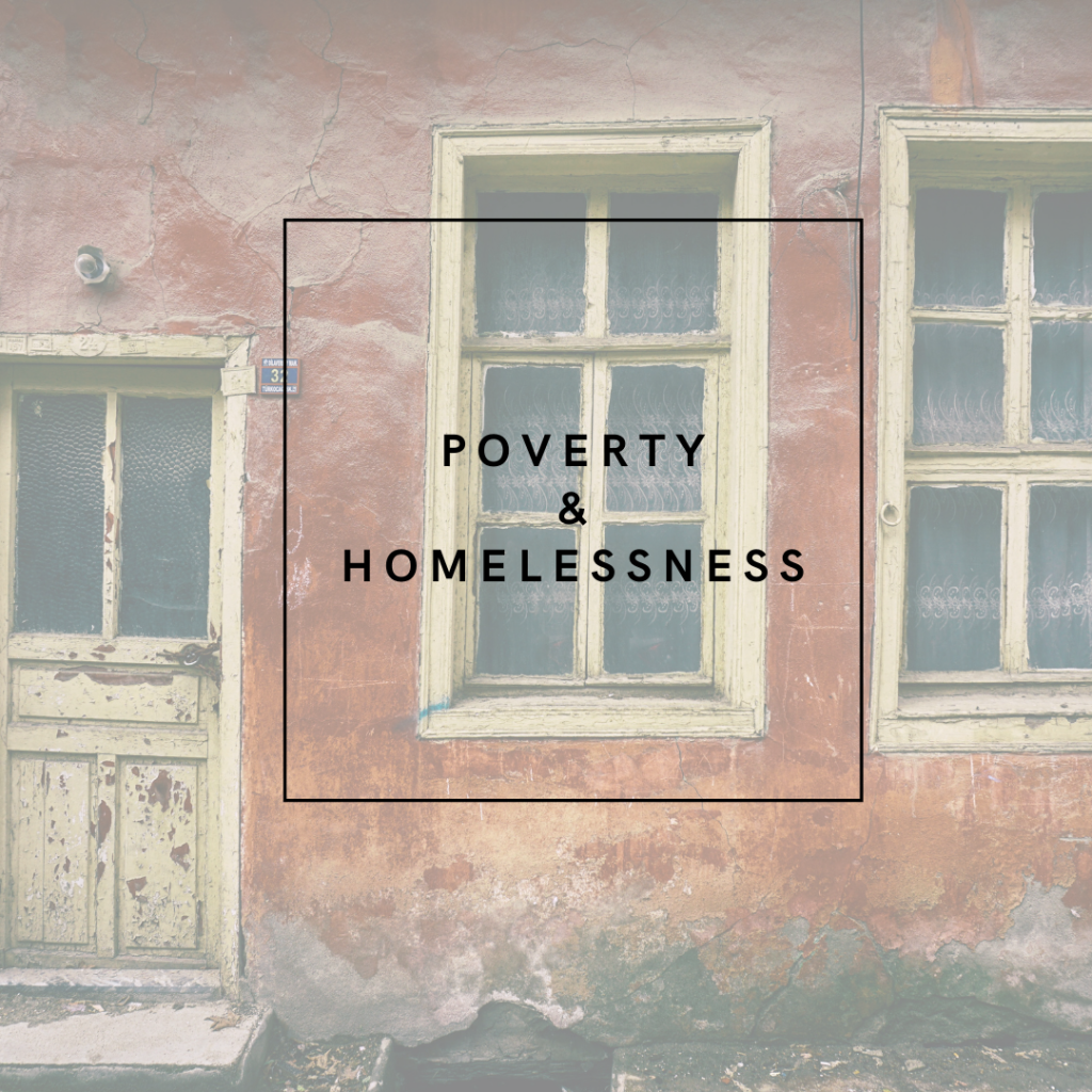 image of a building reading 'Poverty & Homelessness'