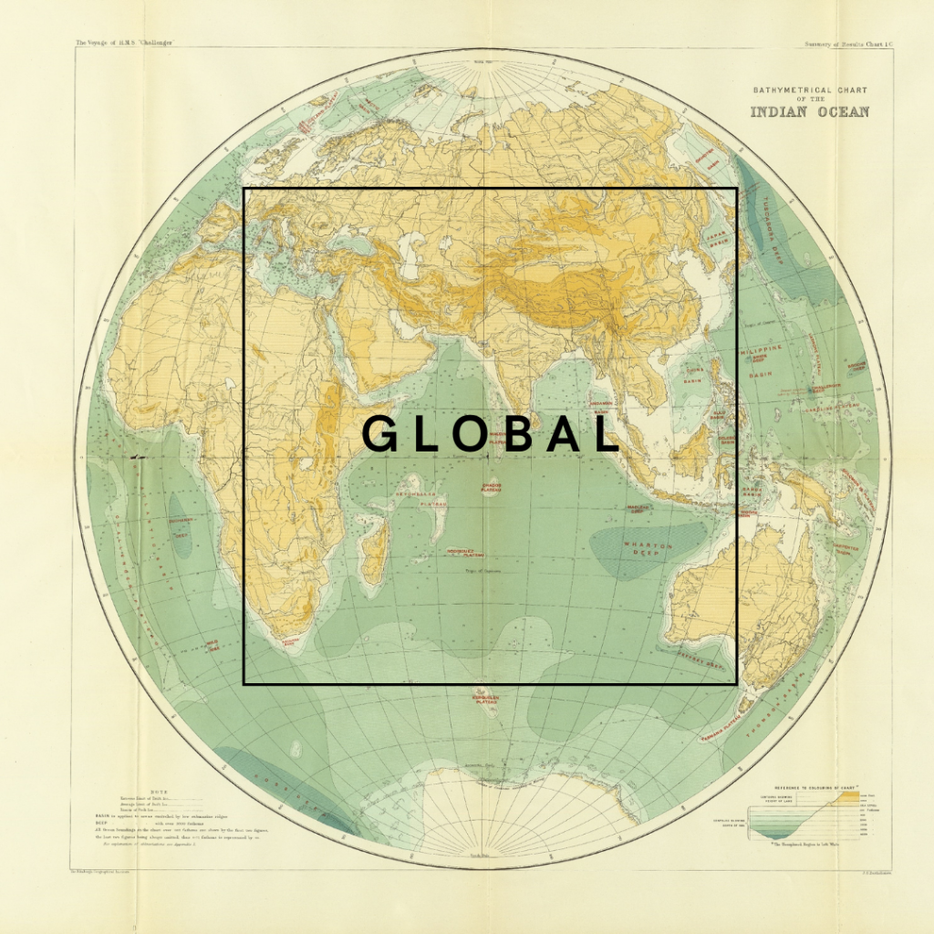 map with the word 'GLOBAL' on it.